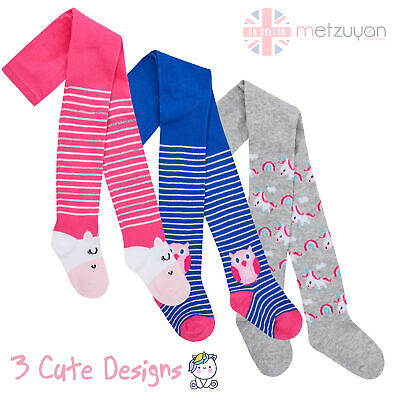 Baby Girls Cotton Rich Tights Toddler Patterned Owl Unicorn Striped Warm 0-24 m