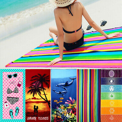 Large Lightweight Microfibre Beach Bath Towel Swimming Spa Sport Gym Camp Travel