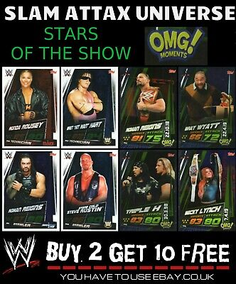 Wwe Slam Attax Universe Omg Moments Cards - Stars Of The Show Buy 2 Get 10 Free