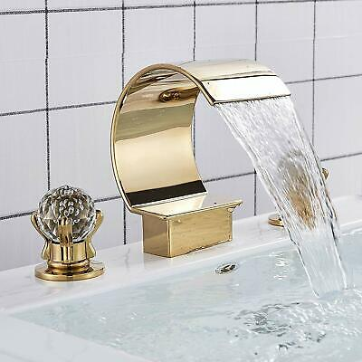 Chrome Waterfall Bathroom Sink Faucet 3-Hole Brass Dual Crystal Handle Mixer Tap