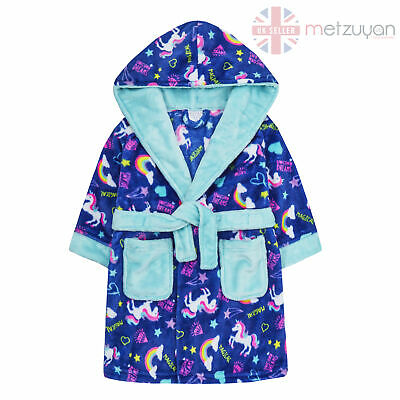 Kids Girls Unicorn Dressing Gown With Hood Neon Rainbow Soft Sizes 2-13 Years