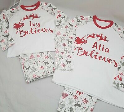 Personalised Pjs Pyjamas Christmas Xmas ANY TEXT Childrens 6-12mths to 5-6 yrs R