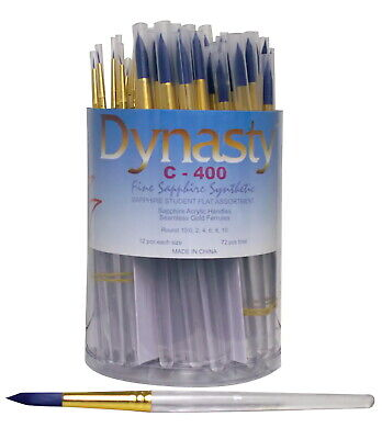 Dynasty C-400 Sapphire Round Synthetic Brushes, Assorted Sizes, Pack of 72