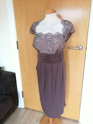 Ladies ALEXON Dress Size 20 Mother of Bride Taupe Lace Ruched Occasion Party