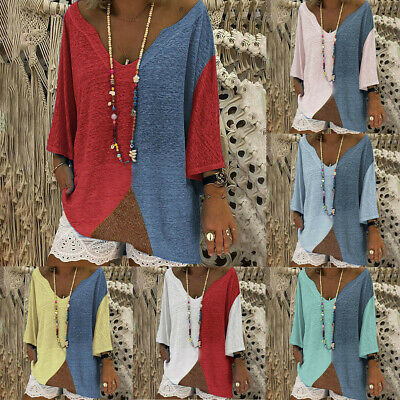 Autumn Women's Casual Loose V Neck Full Sleeve Blouse Patchwork Shirts Tops