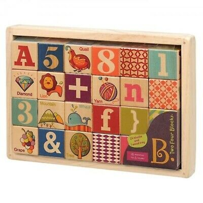 B. Two Four Wooden Blocks in Wooden Tray