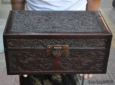 """14""""Old Chinese Huanghuali wood carving Dragon statue Jewelry Box"""