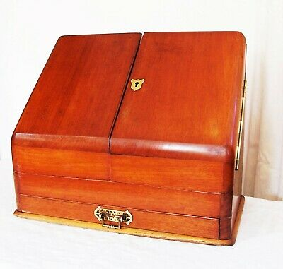 Beautiful Antique Wooden Writing Stationary Box Letter Rack Desk Tidy Secretaire