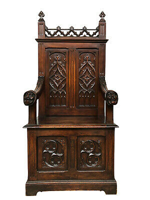 Attractive French Gothic Throne Chair, Carved Bishops Heads, 19th Century