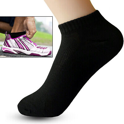 100% Cotton 10 Pairs Mens Womens Linear Ankle Rich Sports Socks Size 6-11 LOT UK