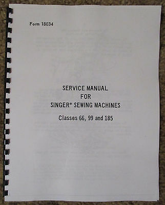 Singer Sewing Machine Class 66 99 185 Service Repair Manual Book How To Set Time