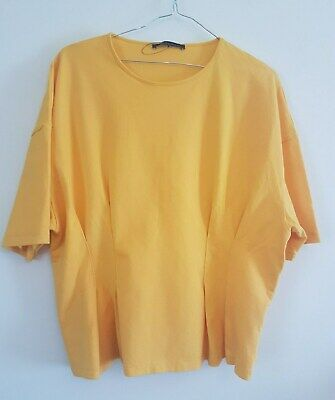 Ref 276 - MARKS & SPENCERS Ladies Womens Girls Yellow Cotton Summer Top Size 18