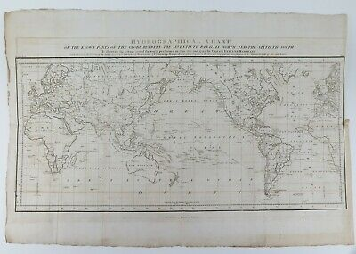1801 1st English Ed. Map of the World. Beautemps-Beaupre chart Etienne Marchand