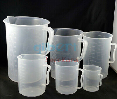 250/500/1000/2000/3000/5000ml Plastic Clea Measuring Cup Graduated Lab Test