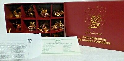 2004 Danbury Mint Set of 12 Gold Christmas Ornaments with Box