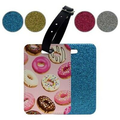 Glitter Luggage Suitcase Tag Donut Collage Pattern - S182