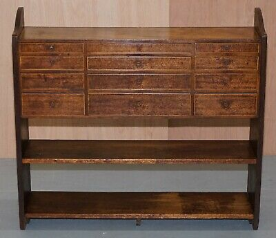 Victorian Mahogany Inlaid Library Bookcase With 12 Drawers Small Sideboard Size