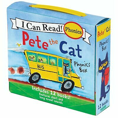 Set Lot 12 Pete the Cat Childrens Books Phonics I Can Read Box Gift 4 8 Years