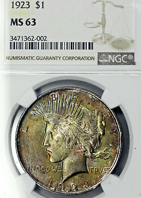 1923-P MS63 Peace Silver Dollar $1, NGC Graded, Colorfully Toned!