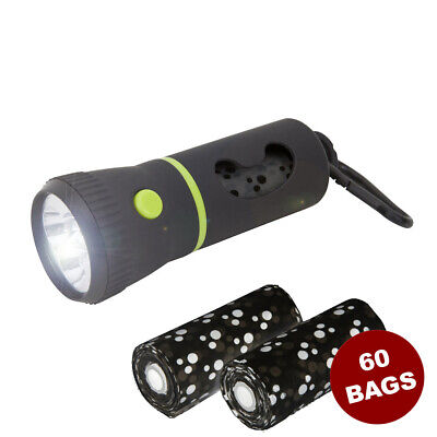 Pet Waste Dispenser Led Flashlight Disposable Poop Bags for Dogs with Belt Clip