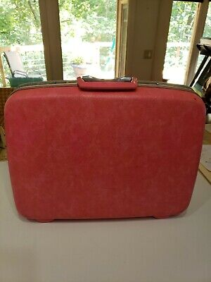 "Vtg Samsonite Silhouette HOT PINK Marbled Suitcase Luggage TRAVEL decor 20"" wide"