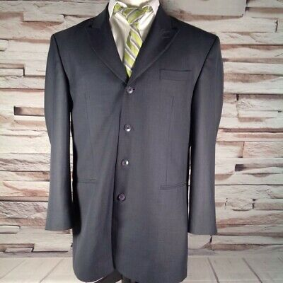 Stacy Adams Mens Suit Coat Blue Lined 4 Button Gray Peaked Lapel Blazer 42R