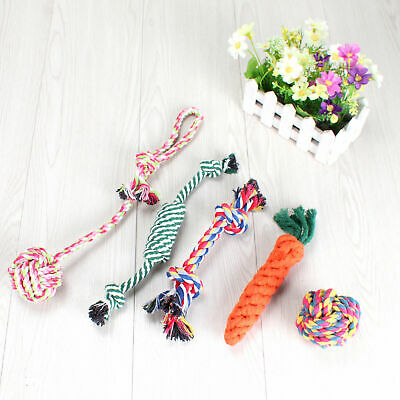 Dog Toys Puppy Rope Teething Chew Playtime Teeth Cleaning Cotton Rope Toys 5PCS