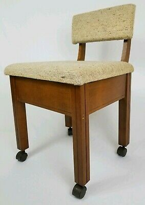 Mid-Century Danish Rolling Sewing Machine Chair Stool With Storage Vintage