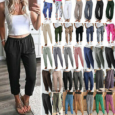 Women Plus Size Summer Loose Trousers Lady Elastic High Waist Harem Casual Pants