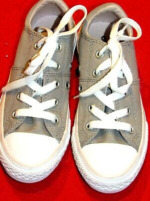 Girls Junior Converse All Star Grey Canvas Sneakers Size 12