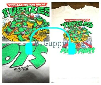 Vintage 1988 RARE Youth Kids TMNT Teenage Mutant Ninja Turtles Pizza T Shirt M