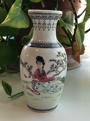 """CHINESE REPUBLIC PERIOD Porcelain Hand Painted Bud Vase-Vintage 5.5"""" Tall"""
