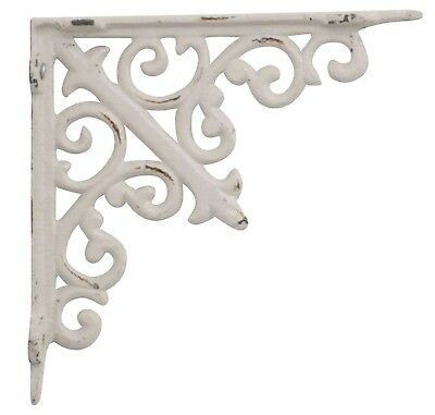 Pair of Antique Style Cast Iron Shelf Brackets Wall Brackets Ornate White