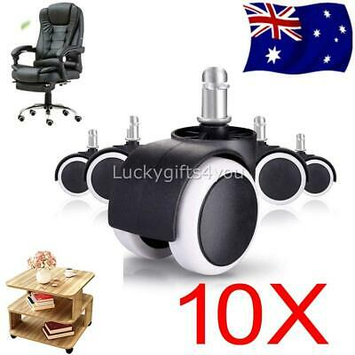 AU 10pcs Office Chair Caster Wheels Swivel Rubber Wooden Floor Protection 2 inch