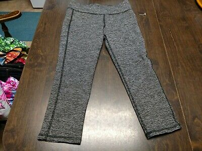 NWT Old Navy Active Black Gray Designed Cropped Leggings Size Girl's XL 14
