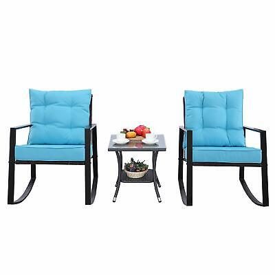 HTTH 3 Pieces Outdoor Rocking Chair Rattan with Coffee Table Thickened Cushion