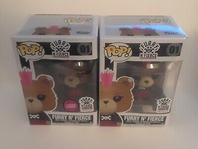 Lot of2 Funko Pop Furry N Fierce 01 FLOCKED CHASE Hot Topic Exclusive and common