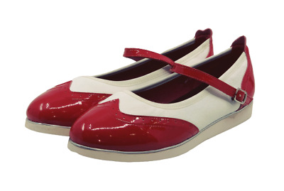 Ladies Mary Jane Leather Red and White Rock and Roll/Swing Dance Shoe