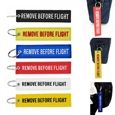 1x Remove Before Flight Key Tag Ring Car Motorcycle Keyring Launch Key Chain New