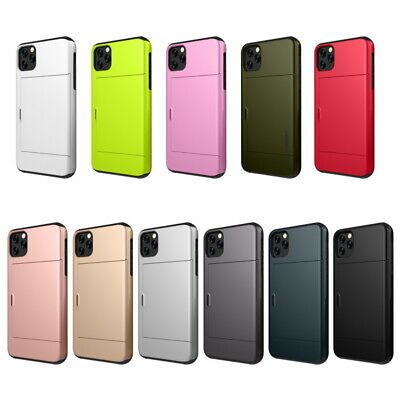 For iPhone 11 Pro Max XS XR X 8 7 6s Plus Sliding Card Slot Hybrid Case Cover
