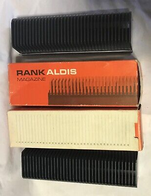 Vintage 2 x Rank Aldis Slide Magazines for projector, original boxes, as new