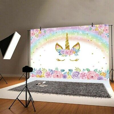 Rainbow Unicorn Birthday Backdrop Floral Backdrops 5x3ft Vinly Photography Best