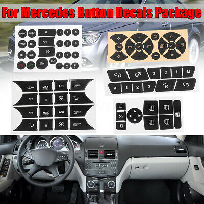 For Mercedes-Benz 2007-14 Button Repair Decals Stickers Set Steering A/C Window
