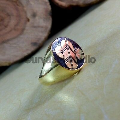 Solid 925 Sterling Silver Mens Signet Ring Unique Vintage Statement Men Jewelry