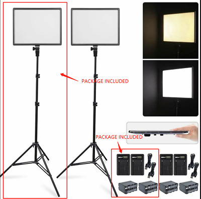 CN-Luxpad43H Slim LED Video Light Panel +2M Stand +2X Battery & Charger