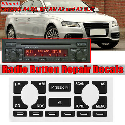 Set of Stickers Repair Buttons for Audi A2 A3 A4 A6 Concert CD Player Radio AS