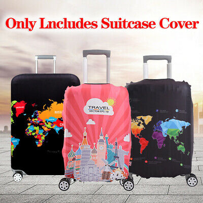 Elastic Trolley Protector Luggage Case Cover World Map Protective Suitcase