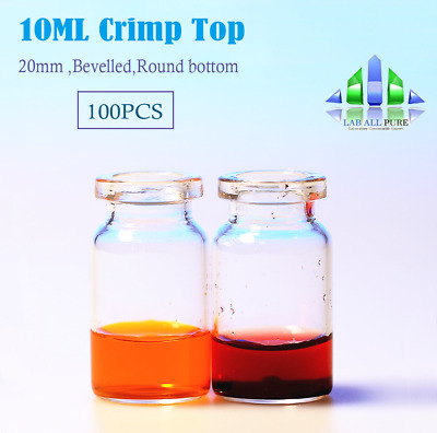 100pcs 10ml Clear vial, 20mm Crimp top,glass vial  GC, Headspace Storage Sample