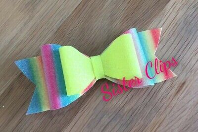 "Girls Handmade bright neon rainbow mix glitter 4"" bow hair clip"
