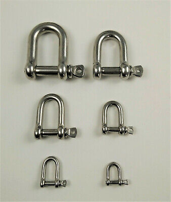 D-Shackle Stainless Steel 316 sizes 4mm, 5mm, 6mm, 8mm, 10mm High Quality
